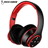 Wireless Bluetooth Headphones Stereo Music Foldable Headset MP3 Player with Touch Screen Noise Cancellation Radio Microphone (Black)