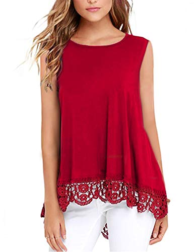 - DOSWODE Womens Tops Sleeveless Lace Trim O-Neck A-Line Tunic Blouse Shirts Red L