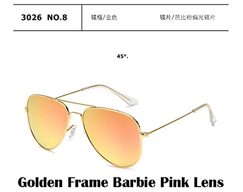 2017 Fashion sunglasses Men women Large frame Anti-glare aviator aviation sunglasses driving UV400,Gold Frame Barbie Pink - Alike Ray Look Ban