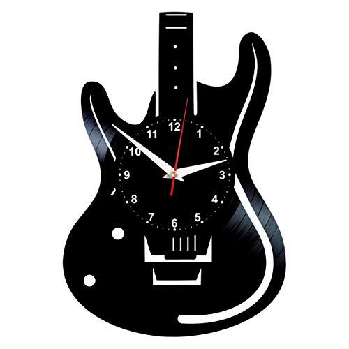 Guitar Shaped Clock - Vinyl Record Art - Music Wall Decor - Rock Lovers Gifts