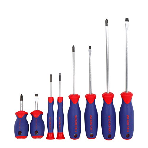 WORKPRO 8-piece Screwdrivers Set Standard and Precision, Cr-V Blades with Bi-material Handles Long Blade Screwdriver Set