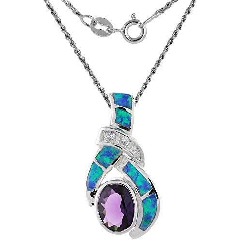 Sterling Silver Synthetic Opal Necklace for Women Amethyst CZ 7x9 mm Oval 1 1/8 inch 18 inch ROPH_25