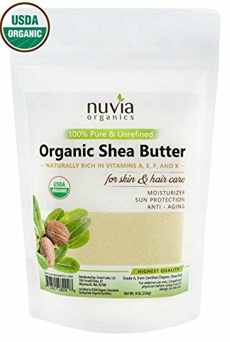 Certified Organic Shea Butter (Nuvia Organics Shea Butter - USDA CERTIFIED ORGANIC - 100% Pure & Unrefined; 8 oz)