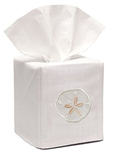 - Jacaranda Living Linen/Cotton Tissue Box Cover, Sand Dollar, Cream