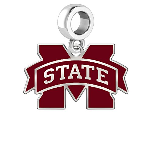 Sterling Silver Msu Bulldogs Charm (Mississippi State University Bulldogs Logo Color Dangle Charm Fits All European Style Charm Bracelets)
