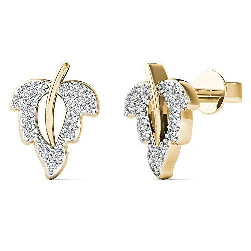 0K Yellow Gold 1/8 Carat TDW Diamond Leaf Stud Earrings (H-I, I1-I2) (Tdw Diamond Leaf Ring)