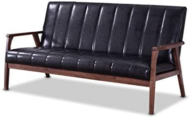 Baxton Furniture Studios Nikko Mid-Century Modern Scandinavian Style Faux Leather Wooden 3 Seater Sofa