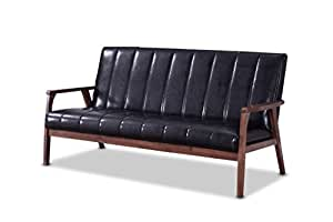 Baxton studio furniture nikko mid century modern scandinavian style black faux leather wooden 3 Swedish home furniture amazon