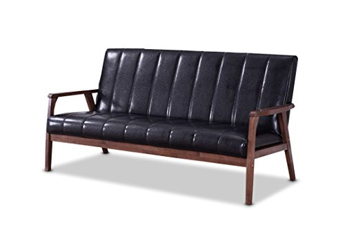 baxton furniture studios nikko mid century modern scandinavian style black faux leather wooden 3 seater sofa, black