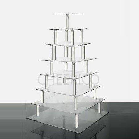 8 Tier Large Square Wedding Acrylic Cupcake Tower Cupcake Stand by Cheerico