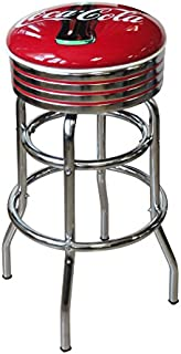 product image for Vitro Seating Products 215-782CBB Coca-Cola Bullseye Chrome Double Ring Swivel Stool, Red and White