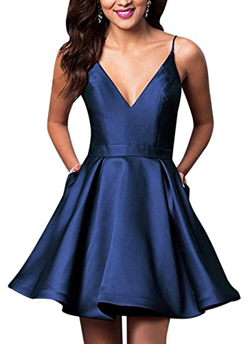 VinBridal Spaghetti Straps Satin Short Ball Gown Homecoming Dresses with Pocket Navy Blue ()