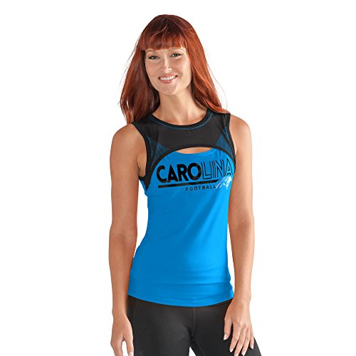 - GIII For Her NFL Carolina Panthers Women's Power Up! Tank, Large, Blue