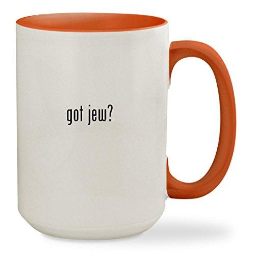 [got jew? - 15oz Colored Inside & Handle Sturdy Ceramic Coffee Cup Mug, Orange] (Hasidic Jew Hat Costume)