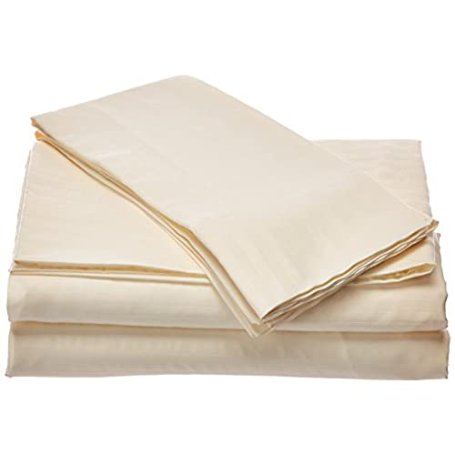 London Home Queen Size 400 Thread Count 100% Cotton Sateen Dobby Stripe Sheet  Set  Ivory