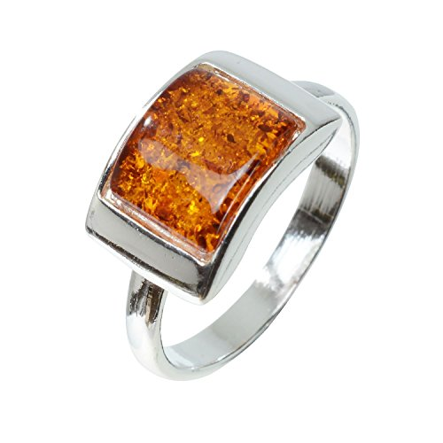 HolidayGiftShops Sterling Silver and Baltic Honey Amber Ring Sunniva Size: 8
