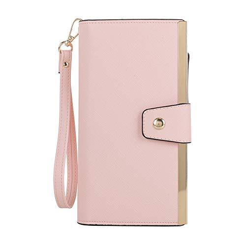 Clutch Blush - SG SUGU Vegan Leather Large Wristlet Purse Bag Zip Around Wallet Clutch Card Holder   Blush