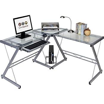 OneSpace 50-JN110400 Ultramodern Glass L-Shape Desk, Silver/Clear
