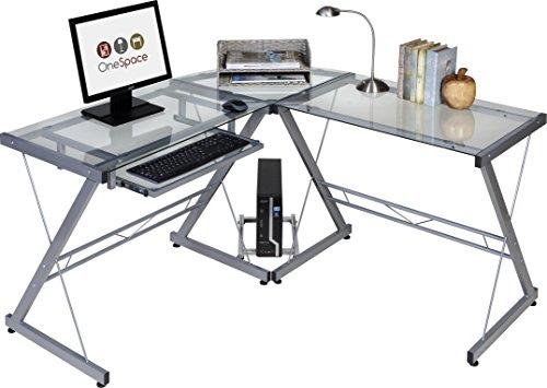 OneSpace 50-JN110400 Ultramodern Glass L-Shape Desk, Silver and Clear