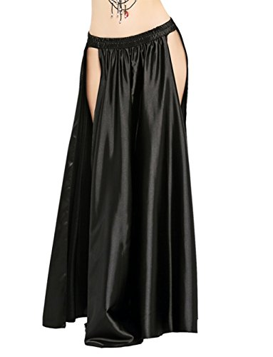 (Dance Fairy Satin High Split Midi Skirt(no Belt),Black)