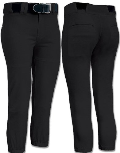Joe's USA Girls Low Rise Fastpitch Softball Pants, X-Large-Black