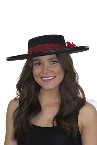 Jacobson Hat Company Women's Day of The Dead Red Lace Band and Rose, Black, Adjustable for $<!--$7.49-->