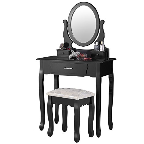 (Mecor Makeup Vanity Table with Oval Mirror,Wood Dressing Table with 3 Drawers Bedroom Vanity Set w/Stool for Girls Women Black)