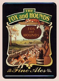 The Fox and Hounds Fine Ales Metal Card - Miniature (Fine Beer Pub Sign)