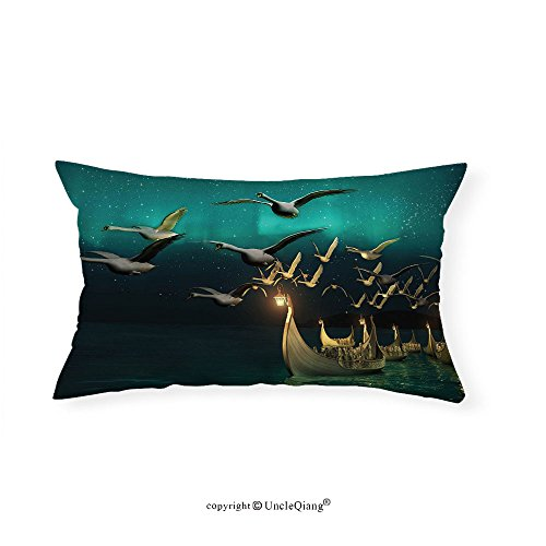VROSELV Custom pillowcasesFantasy Medieval Elf Boats and Magical Birds Swans Flying Mystical Adventure Illustration for Bedroom Living Room Dorm Teal Gold(16''x20'') by VROSELV