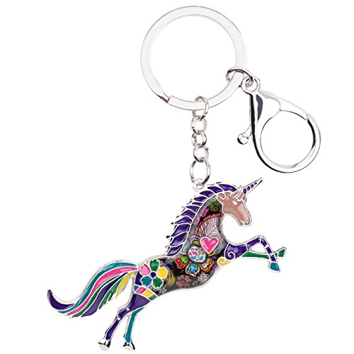 Enamel Alloy Horse Unicorn Key Chains Rings For Women Girl Car Purse bag Charms Gift Accessories Jewelry (Purple)
