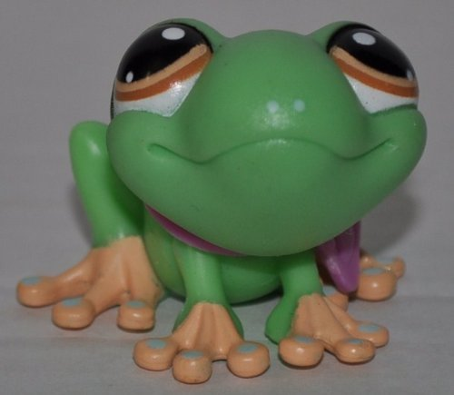 Frog #1020 (Green, Brown Eyes, Yellow Toes, Aqua Dots on Toes and Nose) Littlest Pet Shop (Retired) Collector Toy - LPS Collectible Replacement Single Figure - Loose (OOP Out of Package & Print)