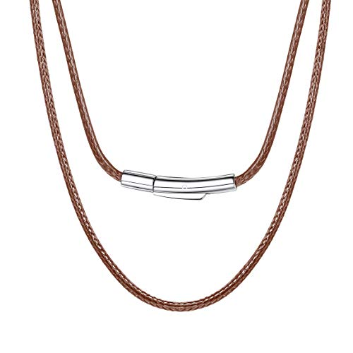 Leather Necklace Cord for Pendant Unisex Jewelry with Durable Stainless Steel Snap Clasp 2mm 16 Inch Brown