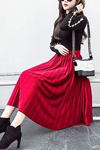 Midi Haute Jupe Ligne Femmes Velours Jupes Une Casual Rouge Plisses Swing Taille 0wfxZ6xq