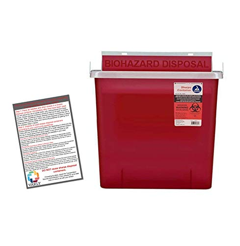 - Sharps Container 5 Quart with Mailbox Style Lid - Plus Vakly Biohazard Disposal Guide (1 Pack)