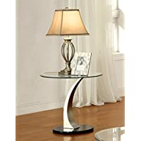 Furniture of America Kassandra Modern End Table, Metallic Finish