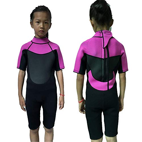 Pink Shorty Wetsuit - Realon Wetsuit Kids Shorties 3mm Girls Swim Surfing Snorkeling Wet Suits Youth (Black/Pink, L)
