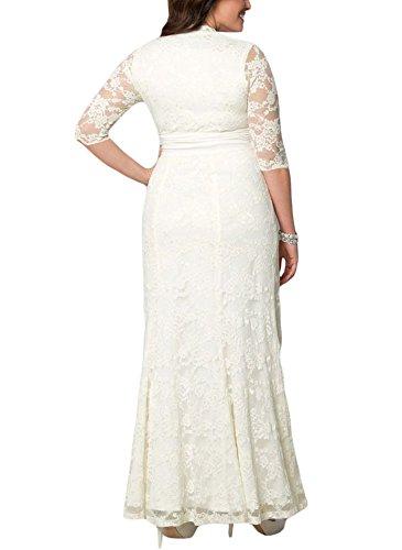 Noche Mujeres Vestido de para Media Larga Mall Bodas Manga Blanco Elegante Encaje MAX Vestido 5gqwvIHz