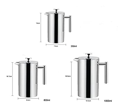 Double Wall Tea & Coffee Brewer | Stainless Steel Coffee Pot & Maker - French Press 350 ml or 800ml or 1000ml Coffee Pot