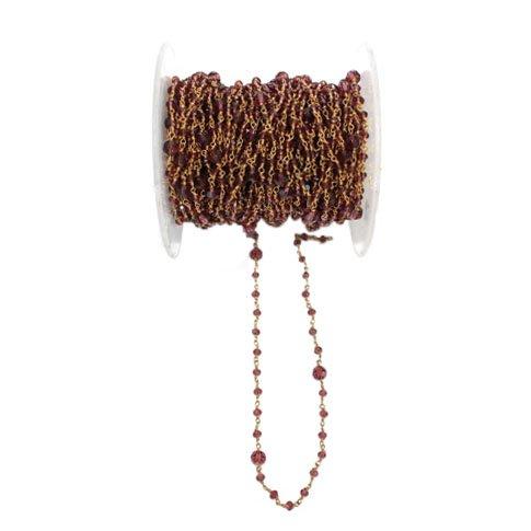 Rhodolite Garnet Beads 3MM - Rhodolite Garnet Bead Chain - Rosary Chain - Semi Precious Gemstone Bead Chain - Rhodolite Garnet 3 MM Alternate Gold Plated Bead Chain