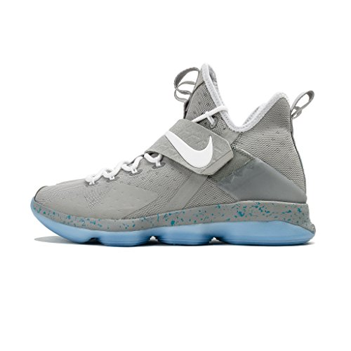 Nike Lebron XIV Mens Basketball-Shoes 852405 (9.5 D(M) US, Matte Silver/White-Glow)