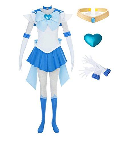DAZCOS Kids Size Girls SuperS Sailor Mercury Mizuno Ami Battle Cosplay Costume Dress (Child M)