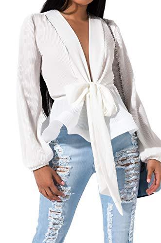 AKIRA Women's Crepe Accordion Pleats Tie Front Long Sleeve Structured Ruffle Peplum Blouse-White_M