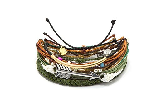 Authentic Jewelry Set (Pura Vida Mother Earth Style Pack Bracelets - Assorted Accessories, Adjustable Straps - 100% Waterproof)