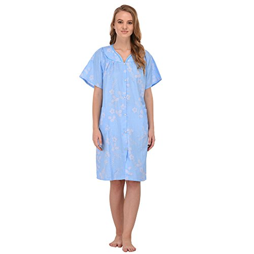 Ezi Womens Diana Short Sleeve Floral House Dress by