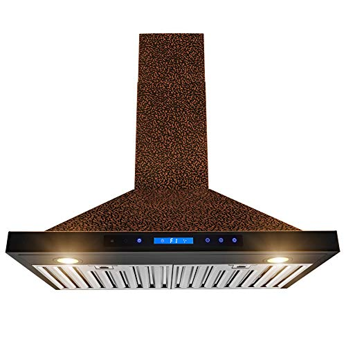 AKDY Wall Mount Range Hood -30″ Embossed Copper Hood Fan for Kitchen – 4-Speed – Remote Control – Professional Quiet Motor – Touch Control Panel – Modern Design – Dishwasher-Safe Baffle Filters