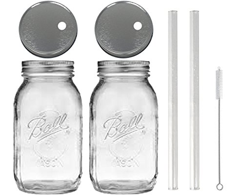 2 Glass Mason Drinking Jars with 2 Straw Hole Lids, 2 Glass Straws (10
