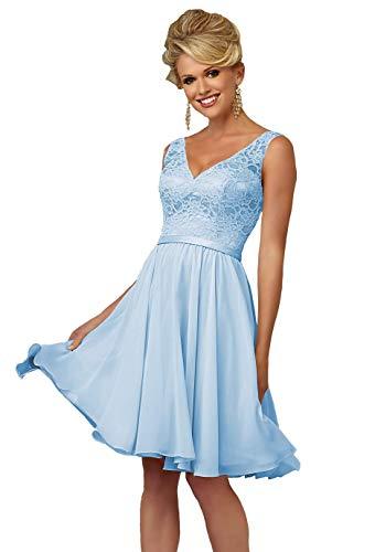YORFORMALS Women's V-Neck Knee Length Chiffon Formal Evening Gown Short Party Dress Lace Bodice Size 16 Light Blue