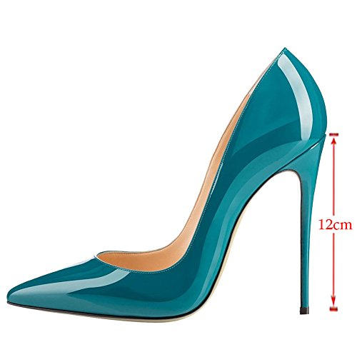VOCOSI Women's High Heels,Pointed Toe Patent Pumps Shoes for Ladies Party Dress 4.7 inches Teal