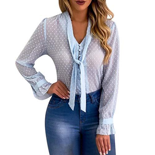 Pengy Women Dot Long Sleeve Top Sexy Chiffon Sheer T-Shirt Mesh Tieup Through Top Shirt Blouse Blue