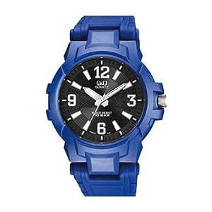 Q&Q Sport Men's Black Dial Plastic Band Watch - VR62-004